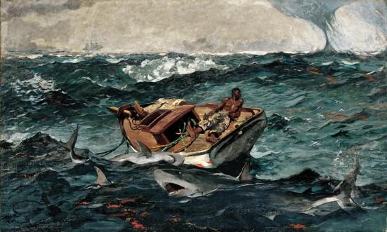 barco tempestade tubarões